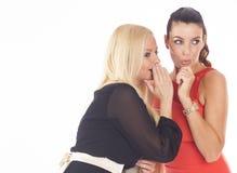 2 красивых девушки партии на предпосылке изолированной белизной Стоковое Фото