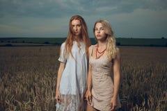 2 красивых девушки стоя в поле Стоковые Фото