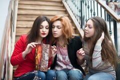 3 красивых девушки с покупками Стоковые Фотографии RF