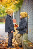 2 красивых дет, братья, держа руки и говоря в t Стоковые Фото