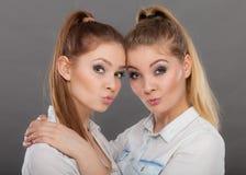 2 красивых женщины, блондинка и брюнет имея потеху Стоковая Фотография