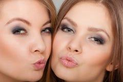 2 красивых женщины, блондинка и брюнет имея потеху Стоковые Фотографии RF