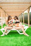 2 красивых женщины имея коктеили совместно бассейном взрослые молодые Стоковое Изображение