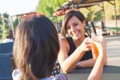 2 красивых женщины имея коктеиль внешний на заходе солнца Стоковые Изображения