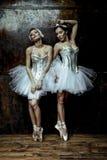 2 красивых женщины нося белую юбку балетной пачки Стоковые Фото