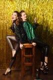 2 красивых жизнерадостных женщины в рождественской вечеринке на сверкнать bac Стоковая Фотография RF