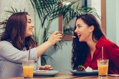 2 красивых молодой женщины наслаждаясь тортом и соком совместно в кафе стоковое фото rf