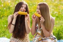 2 красивых молодой женщины на пикнике Стоковая Фотография RF