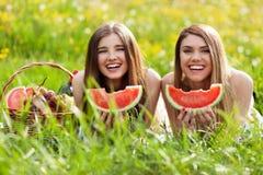 2 красивых молодой женщины на пикнике Стоковые Изображения