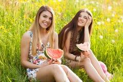 2 красивых молодой женщины на пикнике Стоковое Изображение