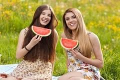 2 красивых молодой женщины на пикнике Стоковые Фото