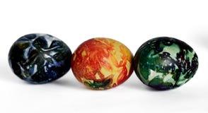 3 красивых пасхального яйца на белизне Стоковая Фотография