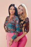 2 красивых подруги или сестры белокурых и брюнет сексуальных молодых женщин имея потеху стоя совместно в розовых кожаных платьях Стоковое фото RF