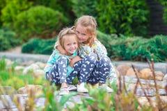 2 красивых прелестных девушки идя на теплое солнечное Стоковое фото RF