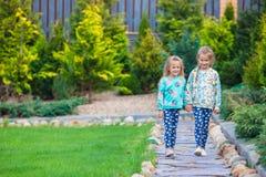 2 красивых прелестных девушки идя на теплое солнечное Стоковое Изображение