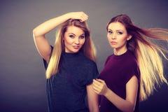 2 красивых представлять женщин, блондинкы и брюнет Стоковое Изображение RF