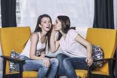 2 красивых друз женщин говоря счастливые улыбки дома Стоковое фото RF