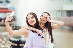 2 красивых сестры делают selfie на улице Стоковые Фотографии RF