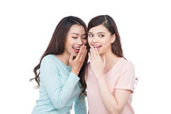 2 красивых усмехаясь девушки деля секрет Стоковое Изображение RF