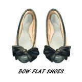 Красить ботинок смычка акварели плоский Стоковая Фотография