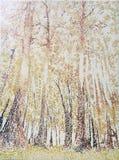 Красить впечатлений масла тропического коричневого леса акриловый Стоковая Фотография