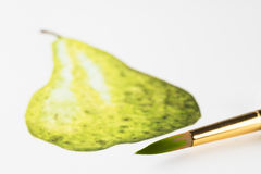 Красить грушу с акварелями Стоковое фото RF