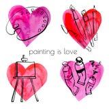 Красить объектов Doodle влюбленность Иллюстрация вектора