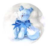 Красить плюшевого медвежонка акварели Стоковое фото RF