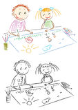 красить детей Стоковые Фотографии RF