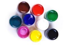 красит краску контейнеров различную раскрытую Стоковое фото RF