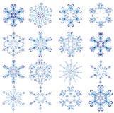 красит различные политые снежинки иллюстрация вектора