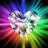 красит сердце диаманта над радугой Стоковая Фотография RF