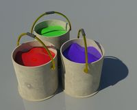 краска ведра 3d Стоковое Изображение RF