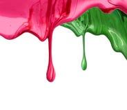 Краска выплеска падений маникюра жидкостная на белизне Стоковая Фотография RF