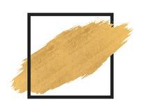 Краска золота в ходах щетки черного квадрата Стоковое фото RF