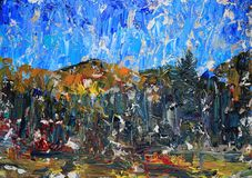 Краска искусства абстрактная с акриловыми цветами Стоковая Фотография RF