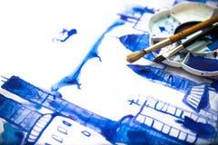 Краска и щетки Красивая современная дорога города с небоскребами, иллюстрация сделанная влияний watercolour Стоковые Изображения RF