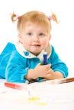 краска младенца кавказская милая Стоковые Фото