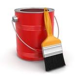 Краска может с щеткой (включенный путь клиппирования) Стоковые Фотографии RF