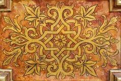 Краска на деревянной плите - флористический сбор Стоковые Фотографии RF