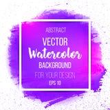 Краска руки искусства абстрактной акварели фиолетовая Стоковое Изображение