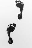 Краска Black+White следов ноги 2 Стоковая Фотография