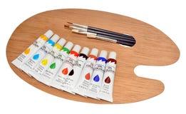 Краски и палитра масла художников Стоковая Фотография RF