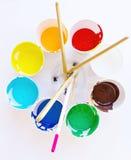 Краски и щетки акварели стоковое фото rf