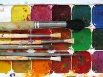 Краски и щетки акварели Стоковые Фото