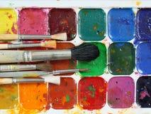 Краски и щетки акварели Стоковое Фото