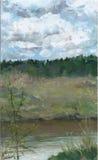 Краски масла изображения на холсте: ландшафт весны Стоковая Фотография RF
