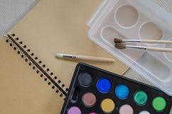 краски установили акварель Стоковая Фотография