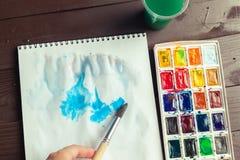 краски установили акварель Стоковое Фото
