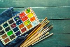 краски установили акварель Стоковые Фото